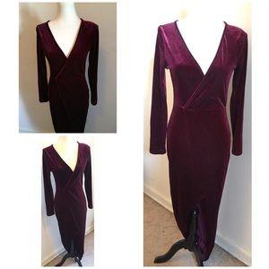 Sexy Burgundy Velvet Asymmetrical Maxi Dress SZ L